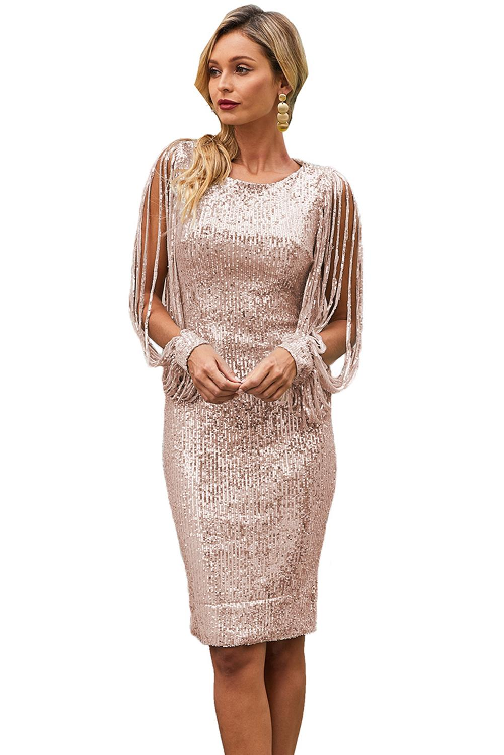 Nude Tassel Sleeve Sequined Cocktail Party Dress