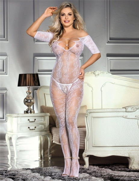 Open Crotch Rose Pattern White Lace Bodystockings