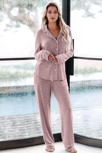 Pink Long Sleeve Button Down Pajama Set