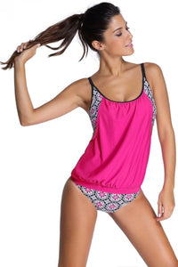 Pink Floral Print Layered Tankini With Briefs