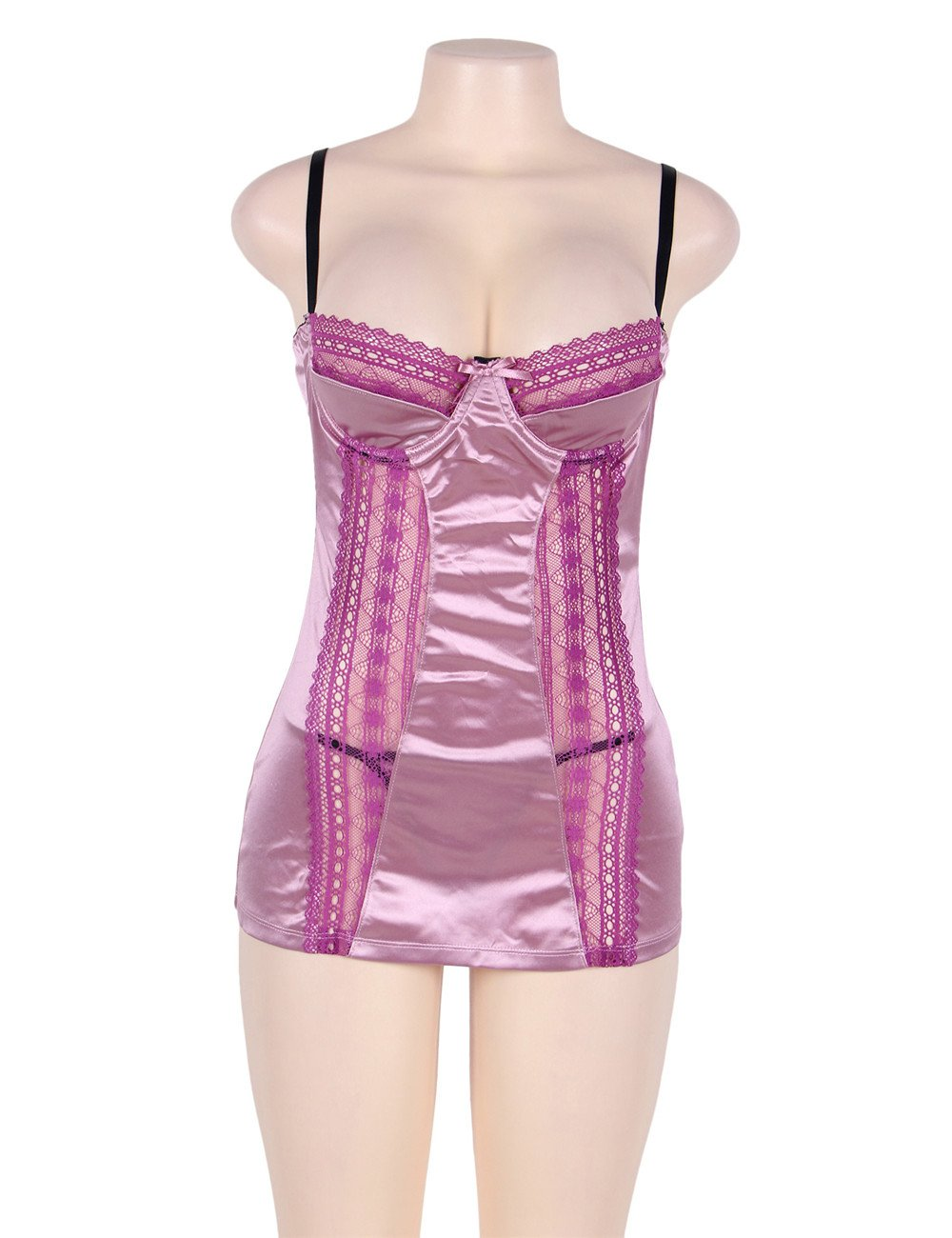 Pink Satin And Purple Lace Chemise Lingerie Set