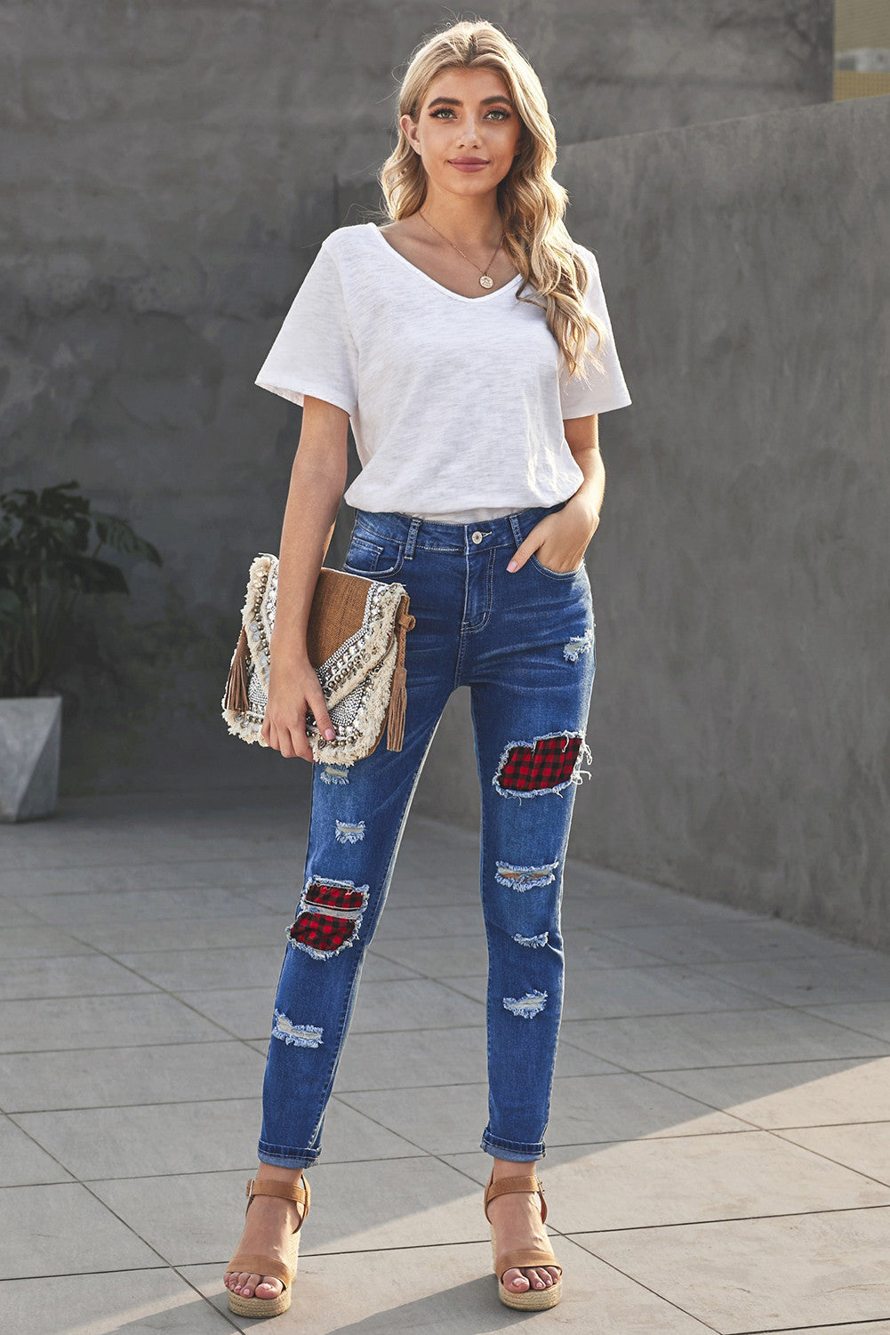 Plaid Patchwork Hollow Out Ripped Jeans - Sky Blue
