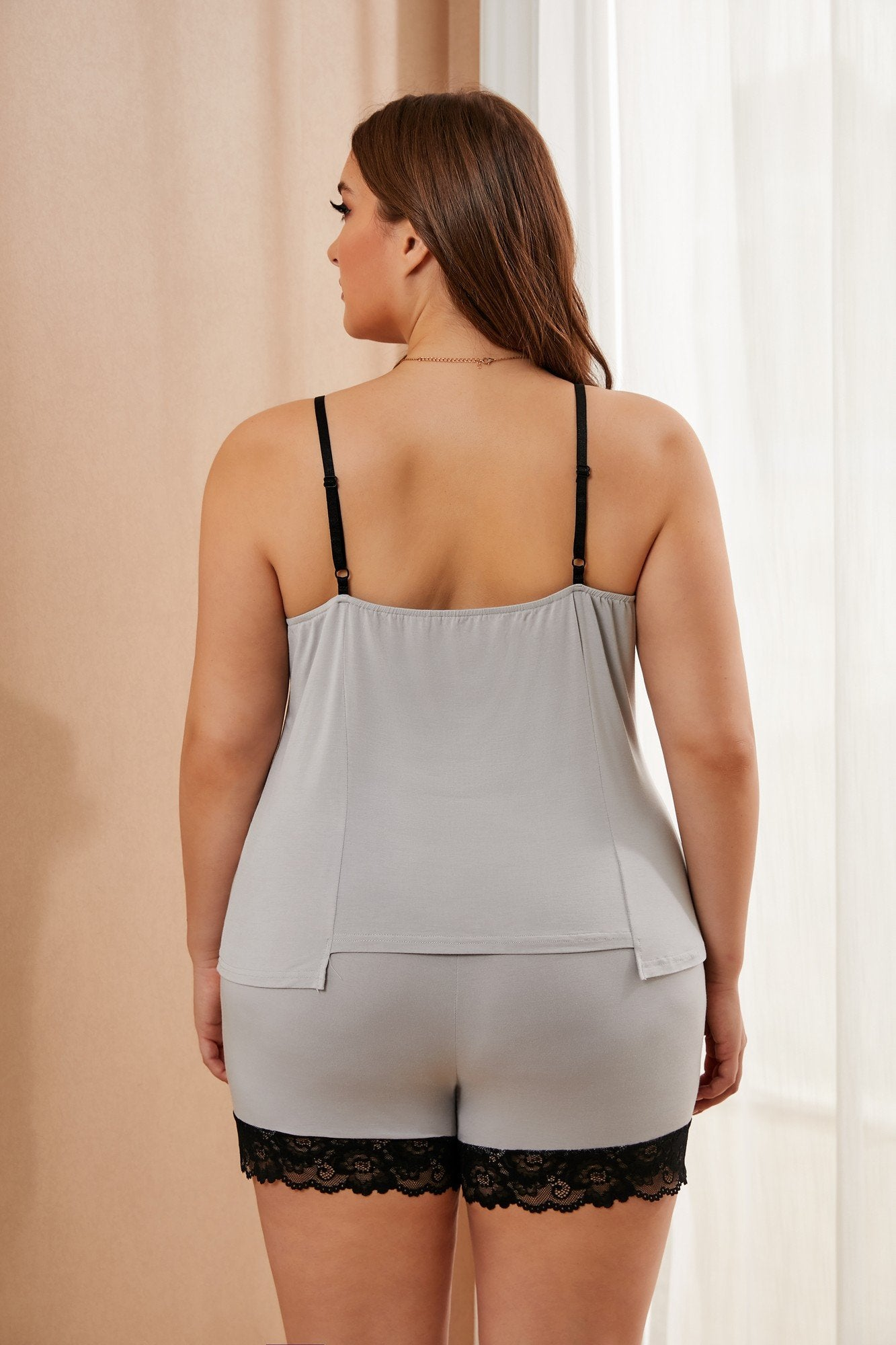Plus Size Grey Loungewear Set With Lace Trim