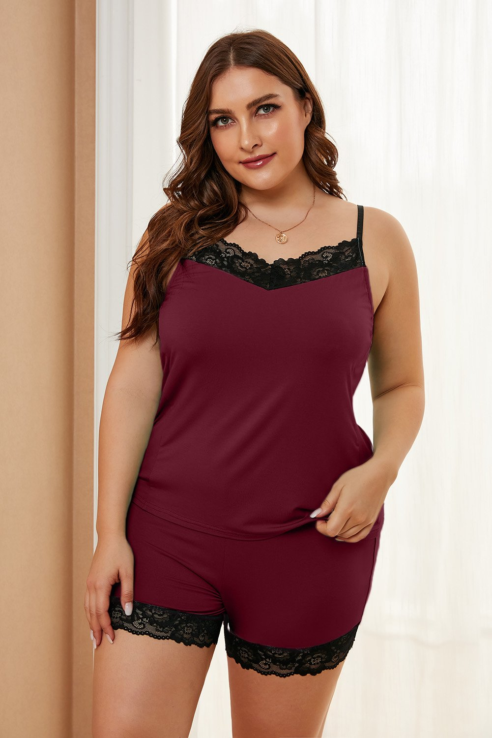 Plus Size Wine Red Loungewear Set With Lace Trim
