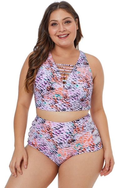 Plus Size Caged Multicolored Scale High Waist Two Piece Swimsuit