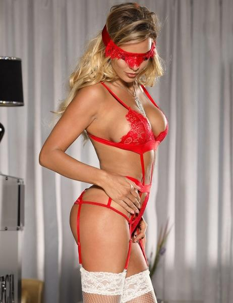 Sexy Red Lingerie Garter Teddy