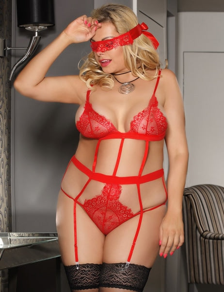 Plus Size Red Lingerie Garter Teddy