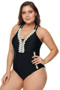 Plus Size Lace Accent Swimsuit - Black