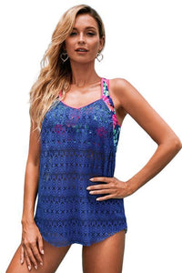 Blue Printed T Back Contrast Lace Tankini Top
