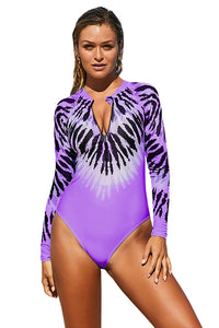 Purple Tie Dye Long Sleeve Zip Front Swimsuit