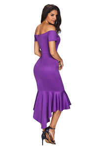 Purple Off Shoulder Short Sleeve Ruffle Fishtail Formal Cocktail Dress