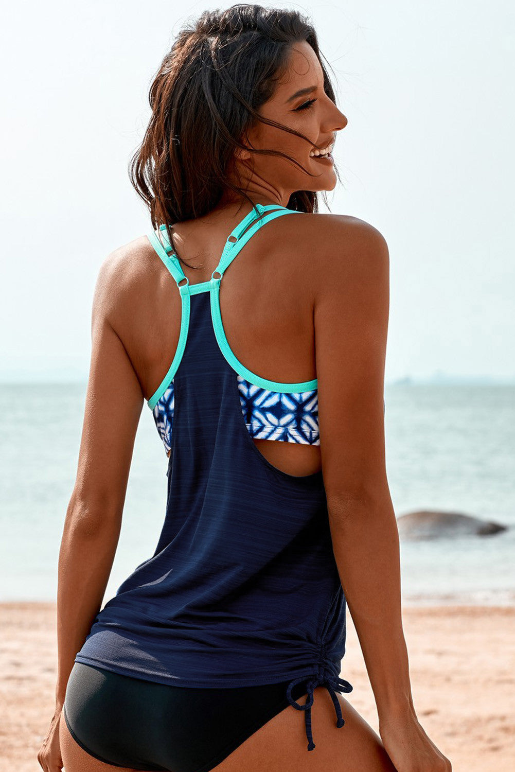 Racerback Double-Up Printed Tankini Set - Navy Blue