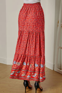 Red Floral Print High Waist Pleated Maxi Skirt
