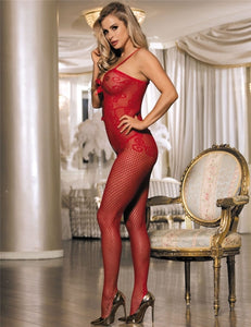 Red Fishnet Keyhole Front Lingerie Bodystockings