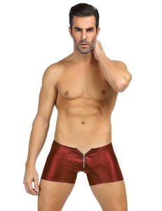Red Zipper Front Sexy Faux Leather Underwear For Men | DIVAS FASHIONS