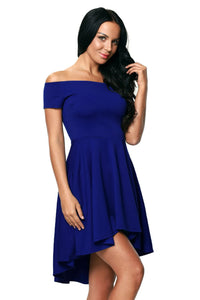 Royal Blue Off The Shoulder Skater Dress