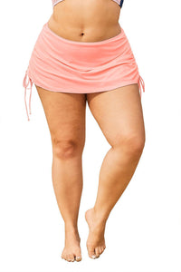Plus Size Pink Ruched Sides Swim Skirt