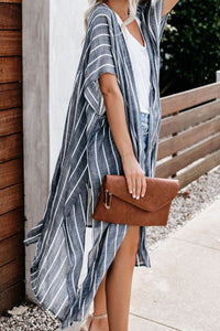Striped Maxi Open Front Kimonos Beachwear