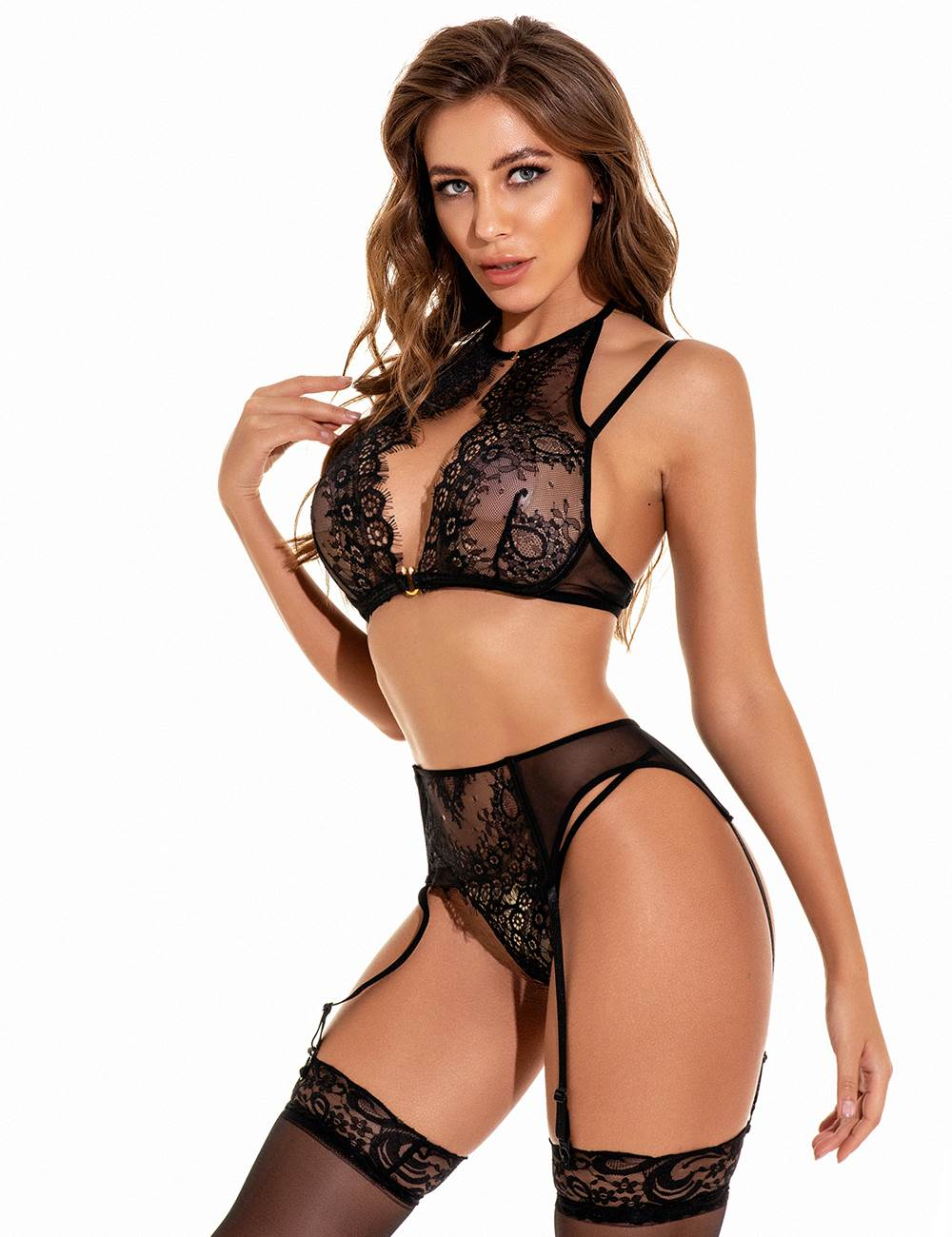 Sexy Black 3pcs Eyelash Lace Bra Panty Set