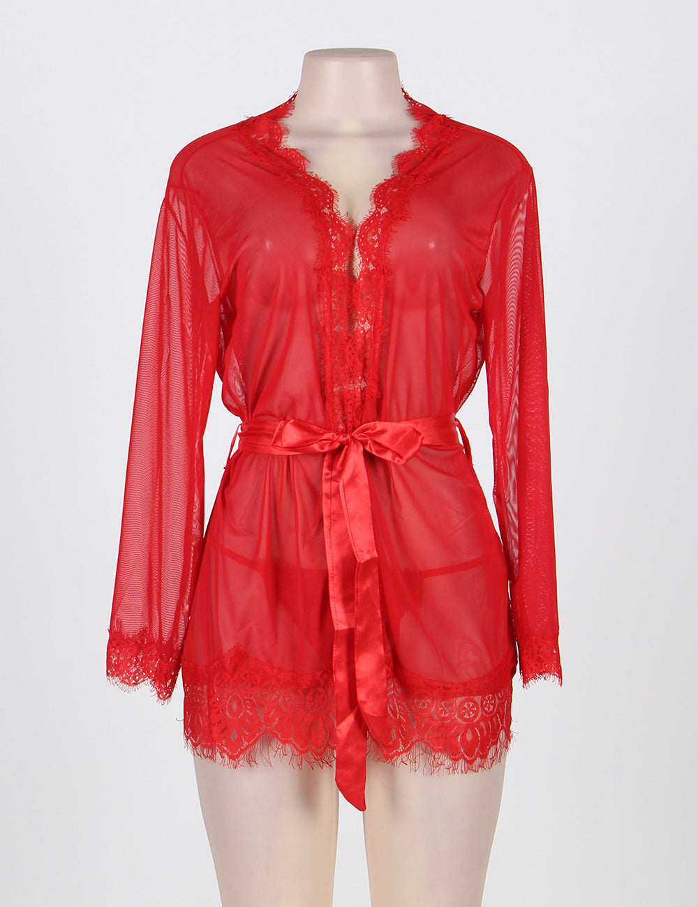 Sexy Red Lace Short Kimono Dressing Gown Lingerie