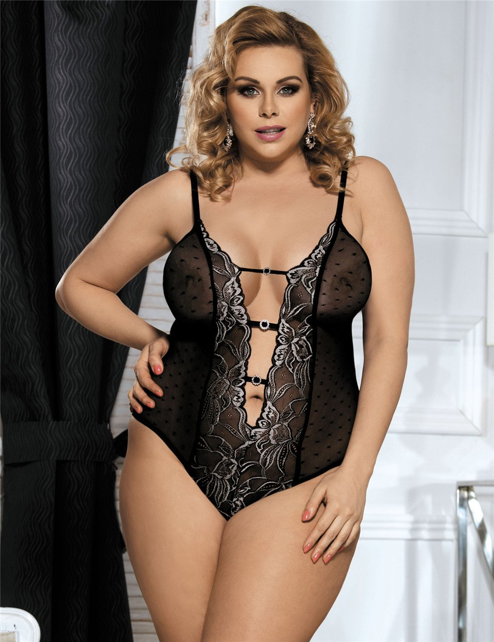 Sexy Black Dotted Mesh Teddy Plus Size Lingerie
