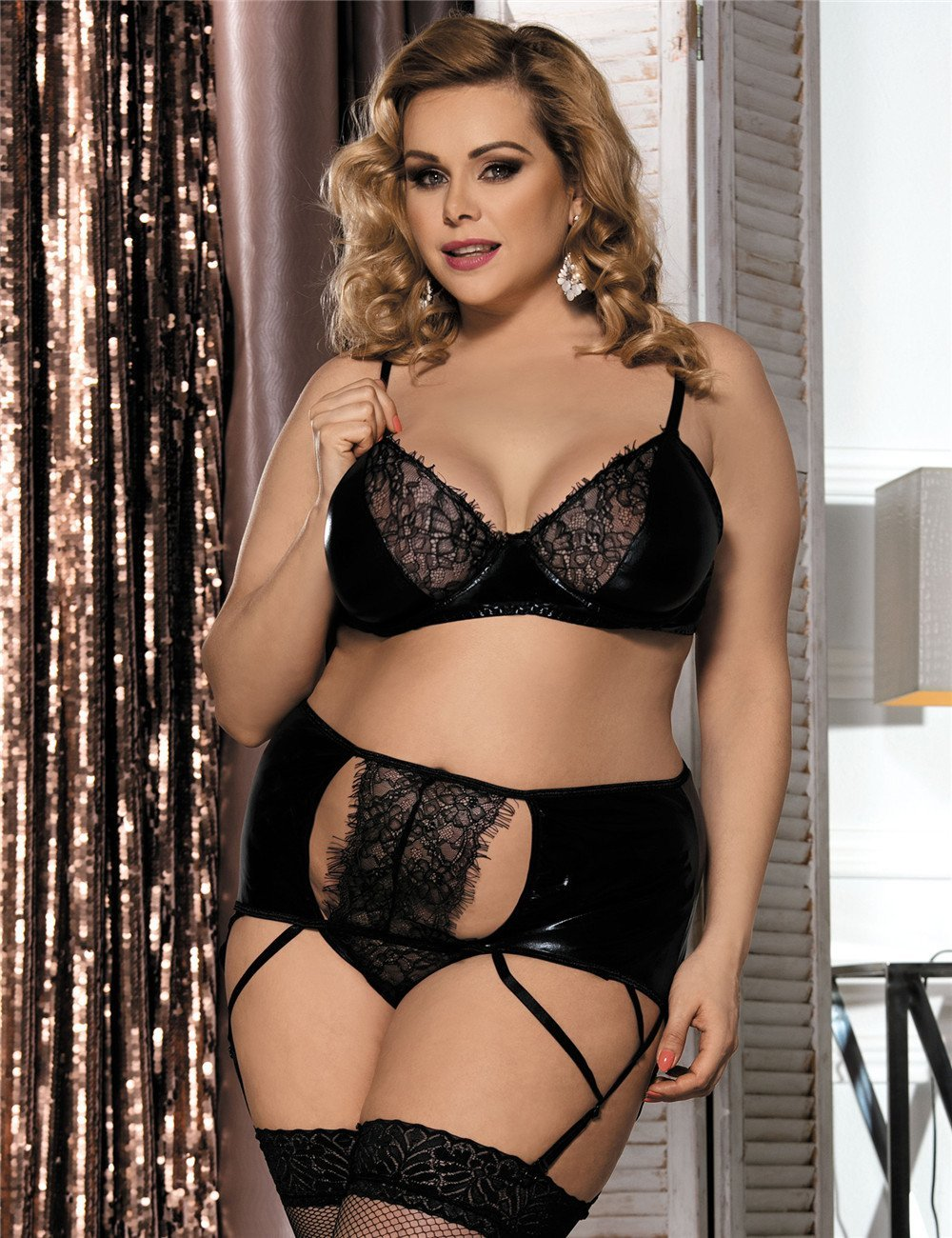 Sexy Black Faux Leather And Lace Plus Size Lingerie