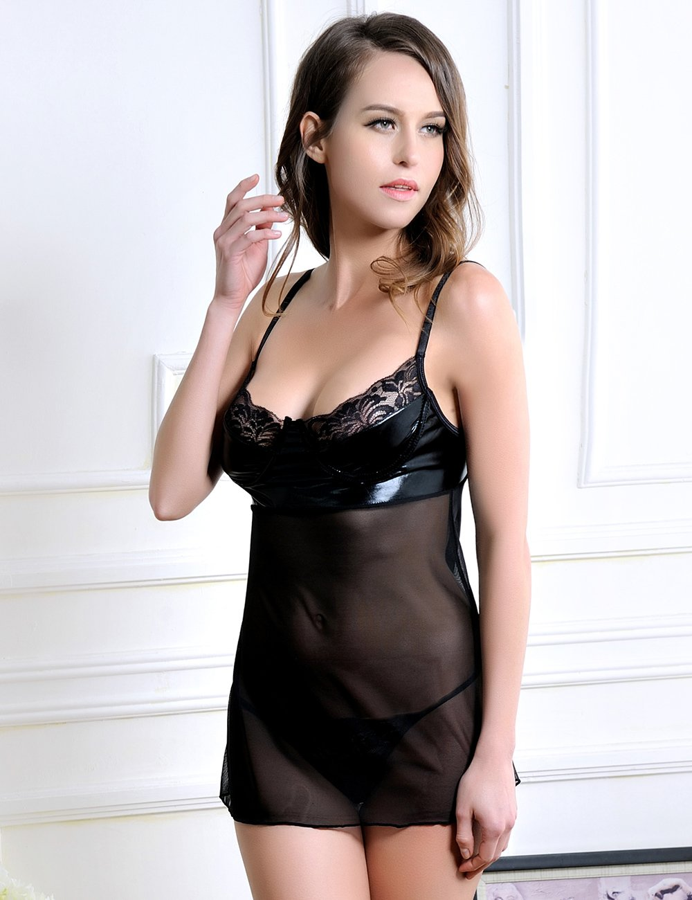 Sexy Black  Faux Leather Detail Chemise Lingerie Set