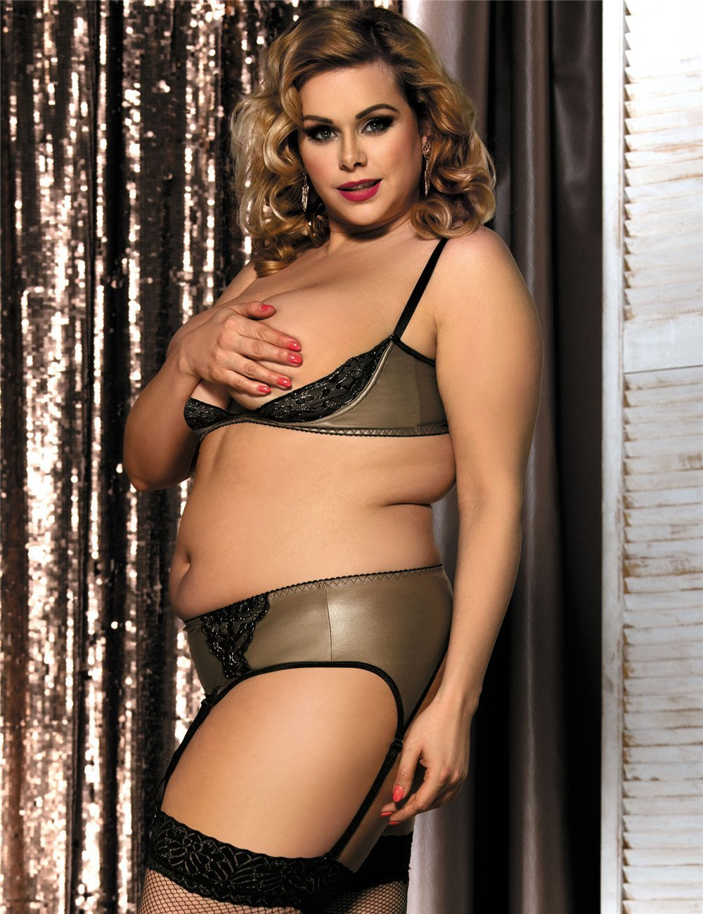 Sexy Brown Faux Leather And Lace Plus Size Lingerie Set