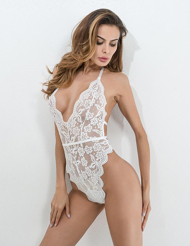 Sexy Lace Backless White Lingerie Teddies