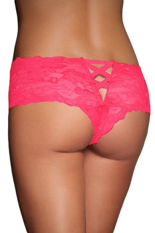 Sexy Pink Boy Short Caged Back Lingerie Lace Panties