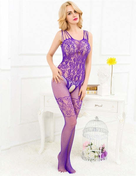 Sexy Purple Floral Motif Mesh Bodystocking
