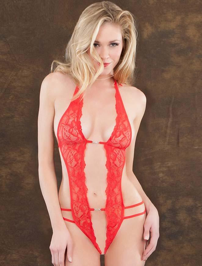 Sexy Red Lace Deep V Teddy Lingerie