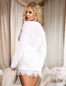 Sexy White Lace Short Kimono Dressing Gown Lingerie