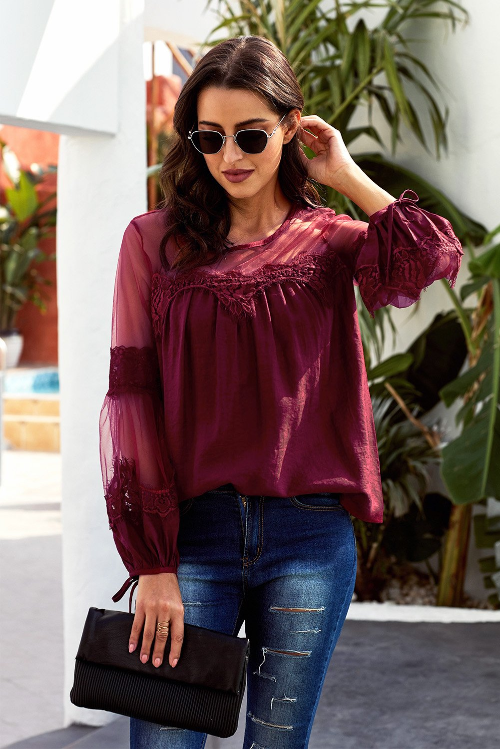 Sheer Lantern Sleeve Lace Trim Wine Red Blouse