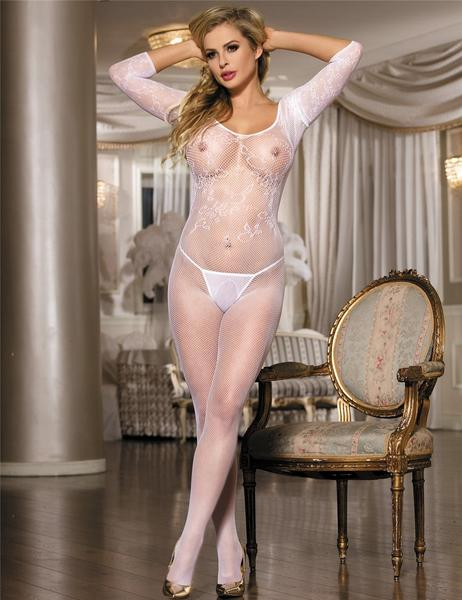 Sheer White Floral Lace Bodystocking