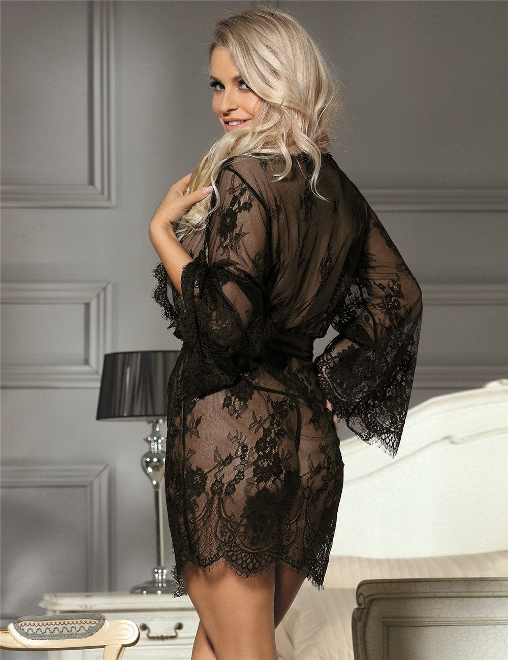 Short Black Lace Lingerie Robe