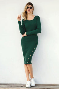 Green Button Detail Bodycon Sweater Dress