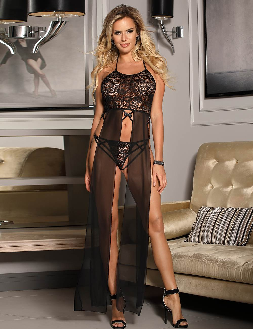 Slitted Halter Lace Babydoll Gown Black