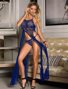 Slitted Halter Lace Babydoll Gown In Blue