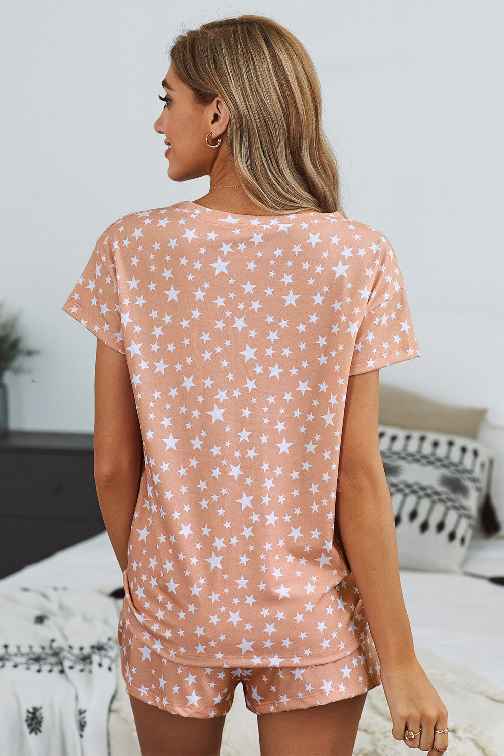 Star Print Tee And Shorts Loungewear Set - Pink