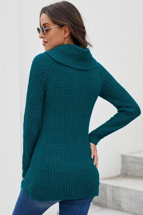 Teal Turtleneck Buttoned Sweater