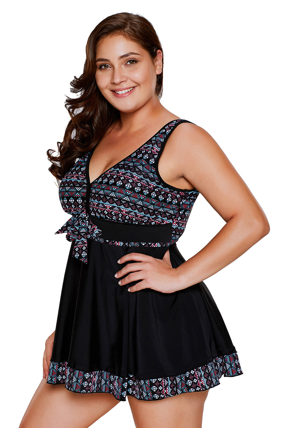 Tribal Print Black Shortini Plus Size Swimsuit