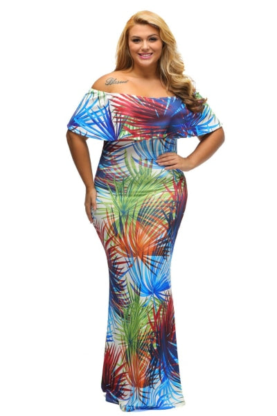 Tropical Print Off The Shoulder Boho Maxi Summer Dress