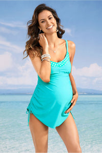 Turquoise Polka Dot Detail Maternity Tankini Swimsuit Set