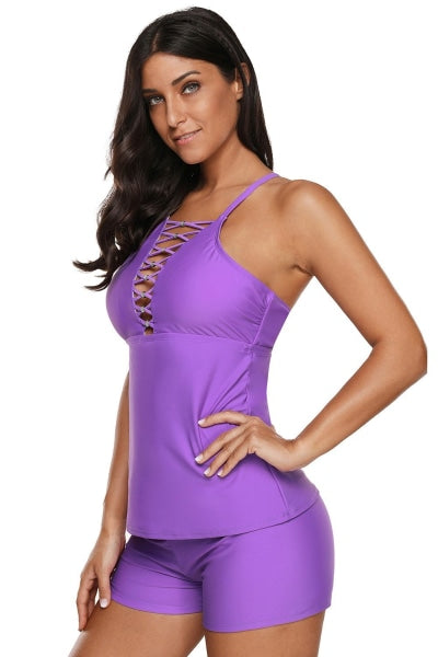 Violet Beaded Crisscross Tankini Swimsuit