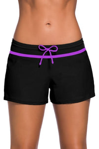Black Violet Trim Swim Shorts for Ladies