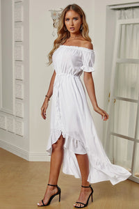 White High Low Off The Shoulder Dress