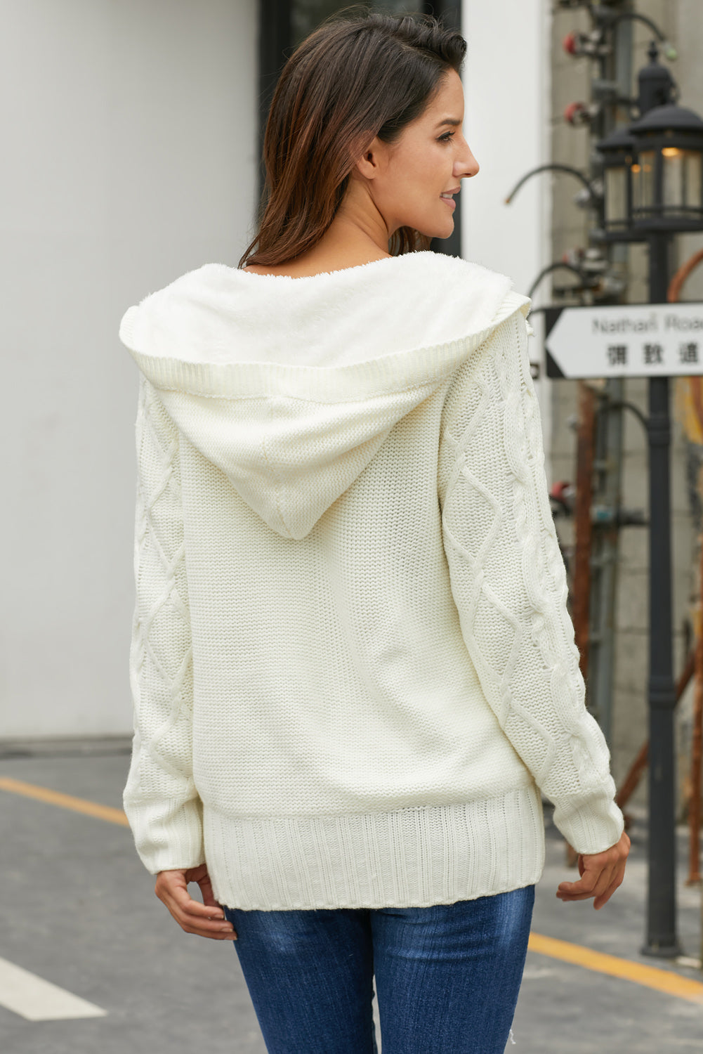 White Horn Button Cardigan Sweater