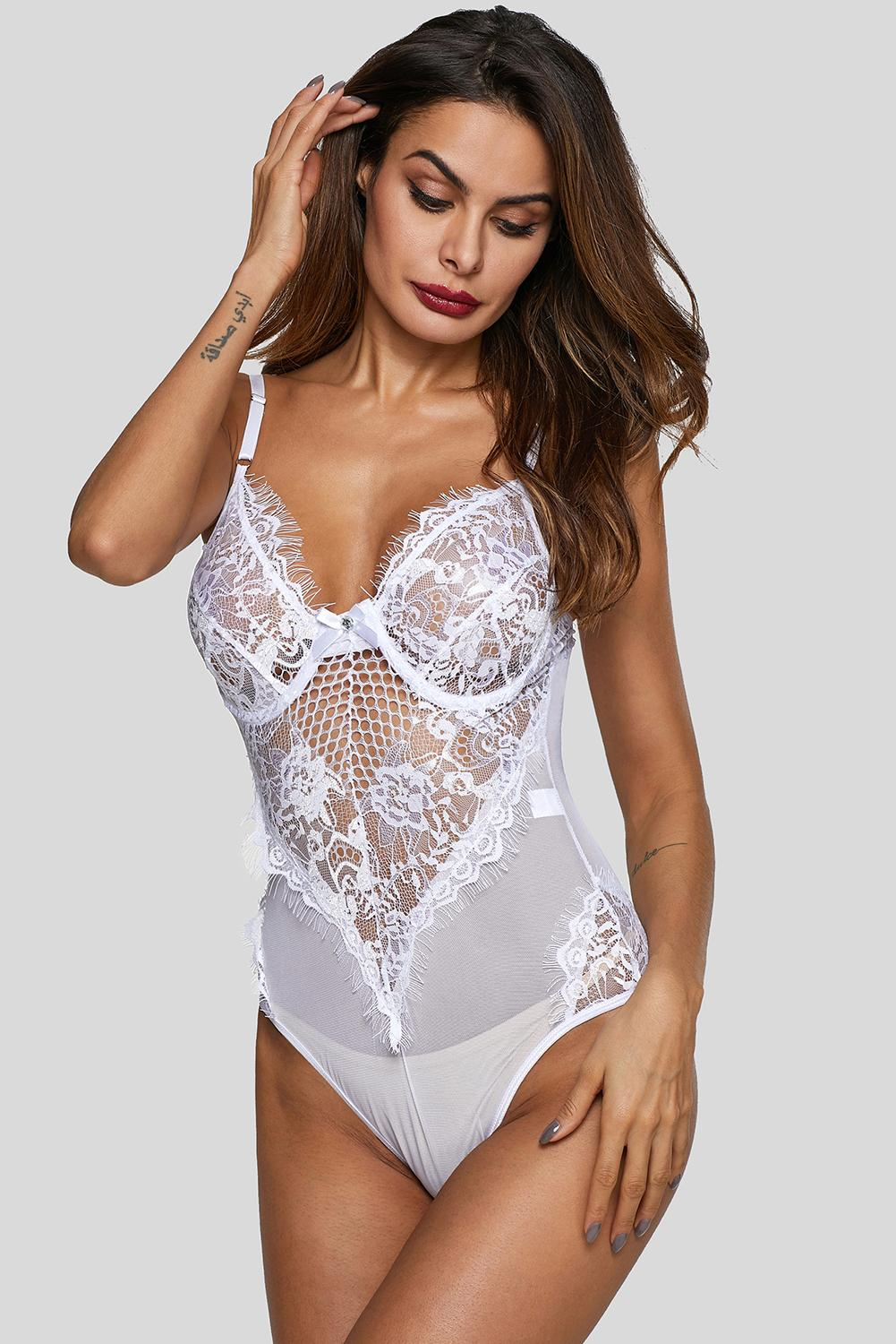 White Mesh Lace Cupped Teddy Lingerie