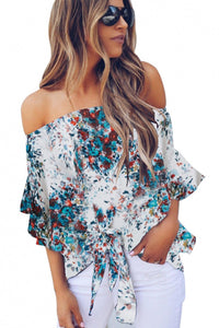 White Off The Shoulder Floral Print Chiffon Blouse